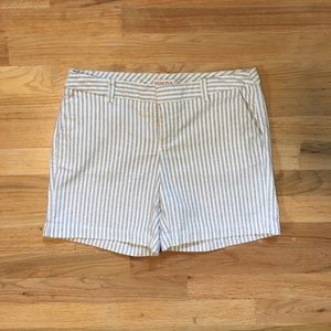 Merona women's gray and white striped shorts.